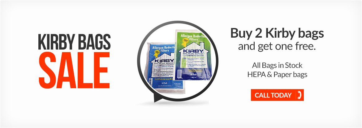 Kirby vacuum banner promotion: buy 2 bags, get one free